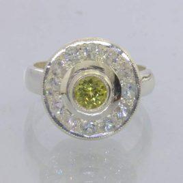 Ring Mali Garnet White Zircon Halo Handmade Sterling Silver size 6.75 Design 12