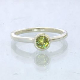 Ring Mali Garnet Yellow Grandite Silver size 6.5 Solitaire Stackable Design 705
