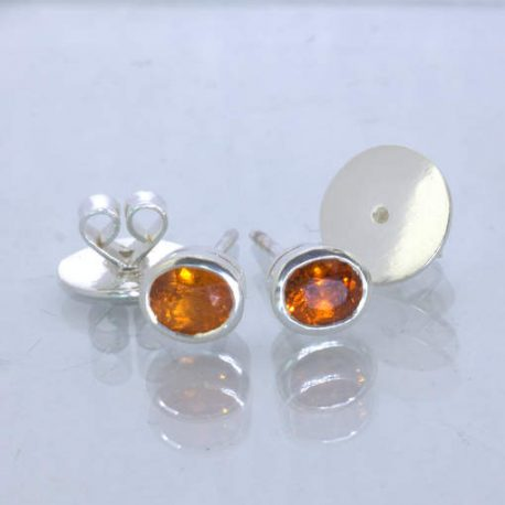 Fanta Orange Spessartite Garnet 925 Silver Studs Ladies Post Earrings Design 607