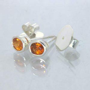 Fanta Orange Spessartite Garnet 925 Silver Studs Ladies Post Earrings Design 607