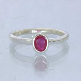 Red Ruby Flux Included Lab Created Oval Silver Ring size 8.5 Stacking Design 705