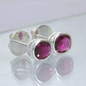 Earrings Rubellite Red Purple Tourmaline Pair Ladies 925 Studs Post Design 607