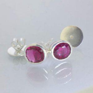 Earrings Rubellite Red Purple Tourmaline Pair Ladies 925 Studs Post Design 607