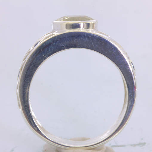 Ring Orthoclase Blue Sapphires Handmade Sterling Silver Unisex size 9 Design 89