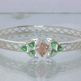 Oregon Sunstone Green Tsavorite Garnet Sterling Bangle 8.5 Inch Oval Design 434