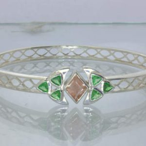 Oregon Sunstone Green Tsavorite Garnet Sterling Bangle 8.5 Inch Oval Design 434
