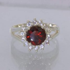 Ring Red Garnet White Sapphires Handmade 925 Silver Unisex size 7.5 Design 54