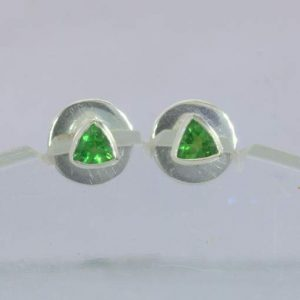 Earrings Tsavorite Green Garnet Trillion 925 Silver Pair Post Studs Design 607