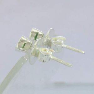 Earrings Tsavorite Green Garnet Trillion 925 Silver Pair Post Studs Design 607