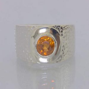 Ring Natural Orange Zircon Handmade Silver Unisex Solitary size 10 Design 163