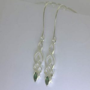 Blue Green Burma Unheated Sapphire Silver Dangle Earrings Celtic Knot Design 79