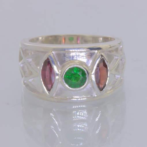 Ring Green Tourmaline Rhodolite Garnet Handmade Silver Unisex size 7 Design 383