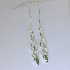 Blue Green Burma Unheated Sapphire Silver Dangle Earrings Celtic Knot Design 79
