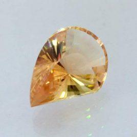 Oregon Sunstone Yellow Peach Fancy Cut 16 mm Pear Copper Shiller Gem 6.30 carat