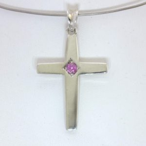 Cross Pendant Burma Pink Spinel 925 Silver Solitaire Unisex Christian Design 458