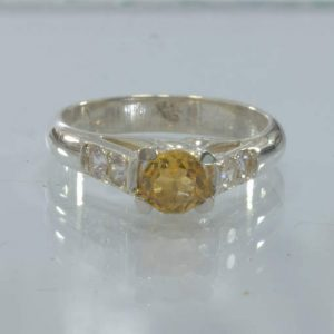 Yellow Citrine White Sapphire Handmade Silver Statement Ring size 6 Design 46