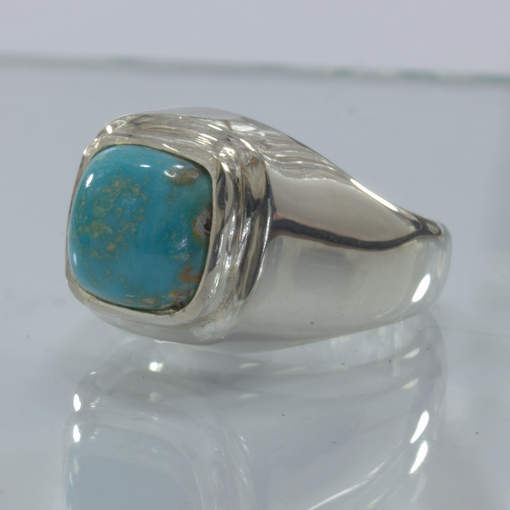 American Turquoise Sky Blue Untreated Gem Handmade Silver Ring size 9 Design 52