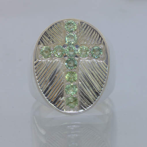 Green Ceylon Sapphire Christian Cross Handmade Silver Ring size 10.5 Design 427