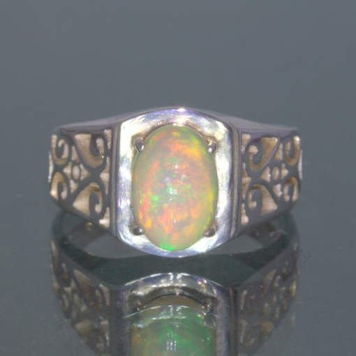 Welo Opal Untreated Stable Ethiopia Gem Handmade 925 Silver Ring size 9 Design 1