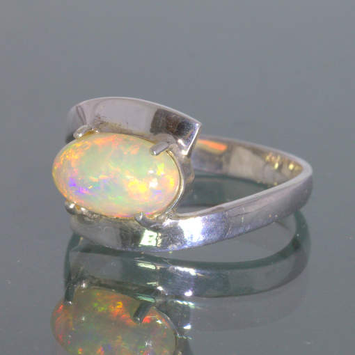 Welo Opal Untreated Stable Ethiopia Gem Handmade Silver Ring size 8.5 Design 84