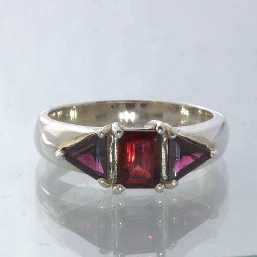 Red Square Garnet Purple Rhodolite Garnets Handmade Silver Ring size 8 Design 49