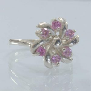 Pink Tourmaline Gems Handmade Silver Pinwheel Ladies Ring size 6.75 Design 41