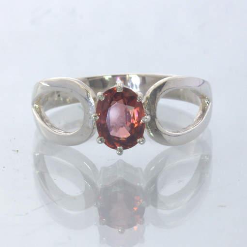 Red Orange Malaya Garnet Silver Stackable Ladies Ring size 9 Ajoure Design 532
