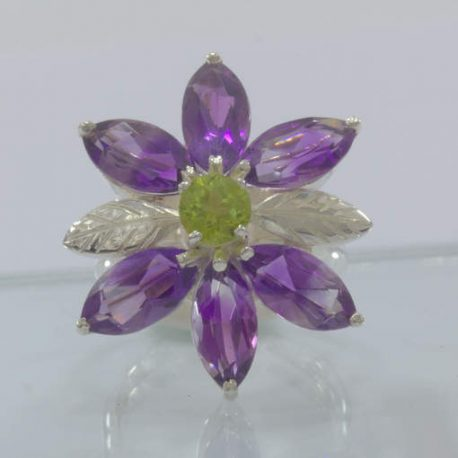 Purple Amethyst Green Peridot Handmade 925 Silver Flower Ring size 9 Design 349