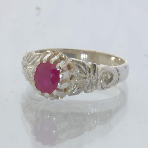 Natural Red Ruby Handmade Silver Angel Flower Ring size 6 Royal Floral Design 34