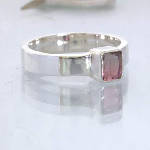 Bi color Pink Green Tourmaline 925 Stacking Ring size 8.75 Stackable Design 530