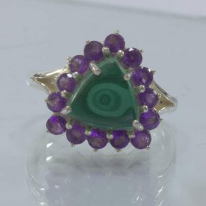 Green Malachite Purple Amethyst Halo Handmade 925 Silver Ring size 8.7 Design 54