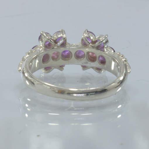 Purple Amethyst Pink Sapphire Flowers Handmade Silver Ring size 8.5 Design 393