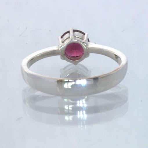 Red Purple Rhodolite Garnet Round 925 Silver Ring size 8.5  Stacking Design 432