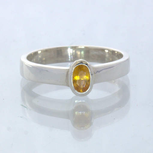 Yellow Zircon 925 Silver Stackable Solitaire Ring size 6.75 Stacking Design 530