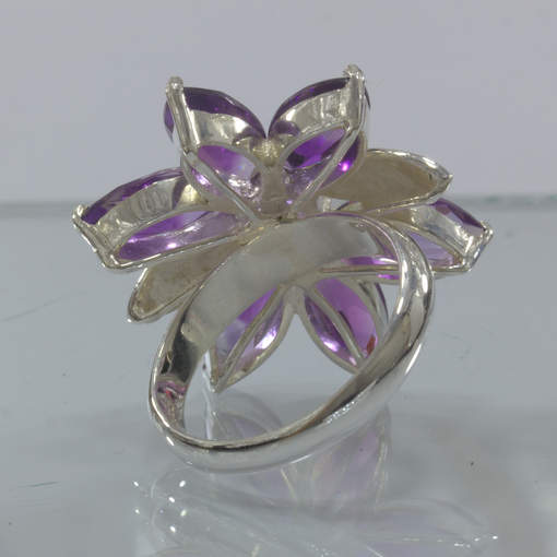 Purple Amethyst Green Peridot Handmade 925 Silver Flower Ring size 9 Design 349