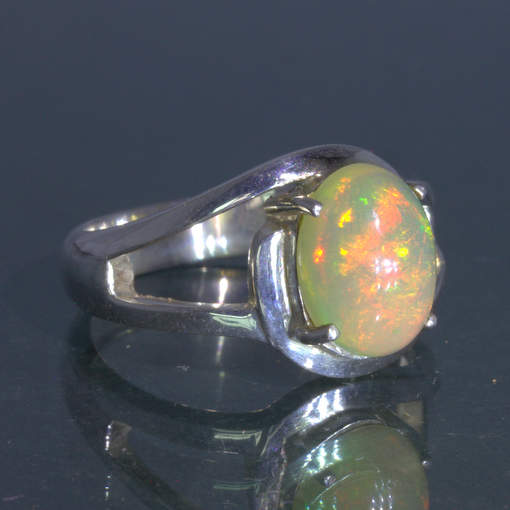 Welo Opal Untreated Stable Ethiopia Gem Handmade Silver Ring size 7 Design 148