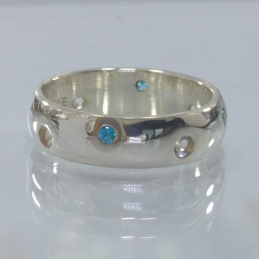 Swiss Blue Topaz White Topaz Round Gems Handmade Silver Ring size 8 Design 158