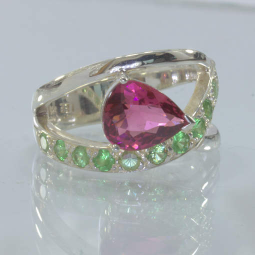 Red Rubellite Tourmaline Green Tsavorite Garnet Silver Ring size 7.5 Design 90