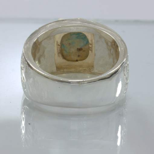 American Turquoise Handmade Silver 18K 750 Yellow Gold Ring size 10.5 Design 163