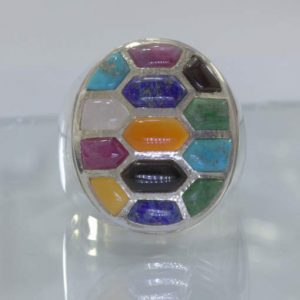 Mosaic Inlay All Natural Gemstones Handmade 925 Silver Ring size 12 Design 543