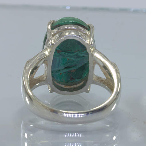 Green Bullseye Malachite Oval Cabochon Handmade Silver Ring size 8.5 Design 384