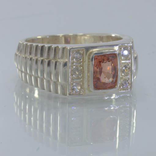 Orange Padparadscha Spinel White Sapphire 925 Watchband Ring size 8 Design 652