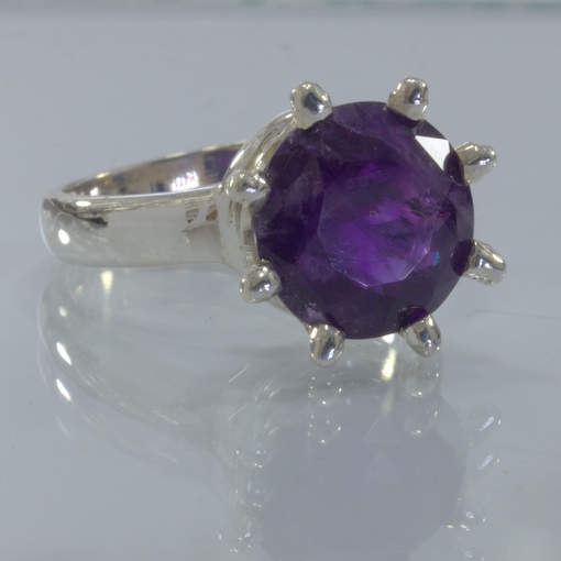 Purple Amethyst Burma Quartz Handmade 925 Silver Crown Ring size 9.5 Design 653