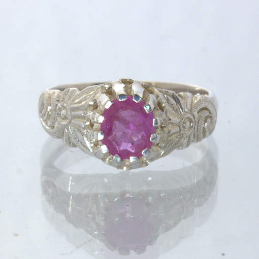 Pink Natural Ruby Handmade 925 Statement Ring Size 7.25 Angel Flower Design 34