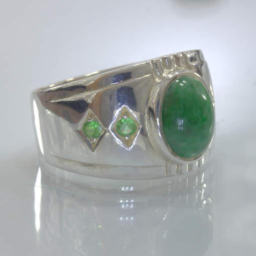Green Maw Sit Sit Tsavorite Garnet Handmade Silver Ring size 10.75 Design 357