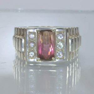 Bi-color Tourmaline Sapphire Silver Watchband Style Ring Size 10.25 Design 136