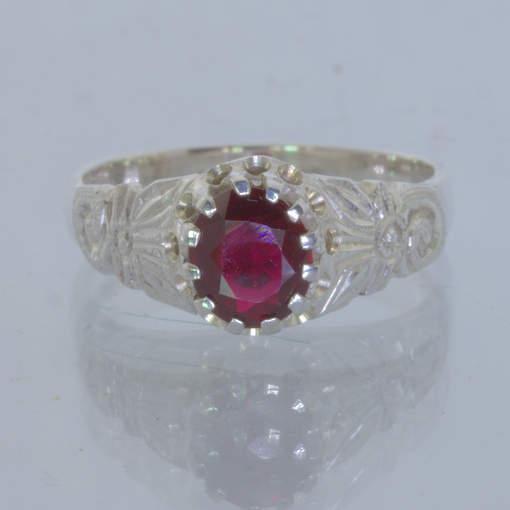 Dark Red Burma Spinel Handmade Silver Ladies Ring size 7 Angels Flower Design 34