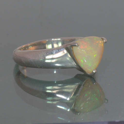 Welo Opal Colorful Trillion Untreated Handmade 925 Unisex Ring size 6 Design 118