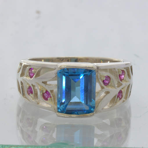 Swiss Blue Topaz Unheated Ruby Handmade Silver Ring size 7.5 Floral Design 89