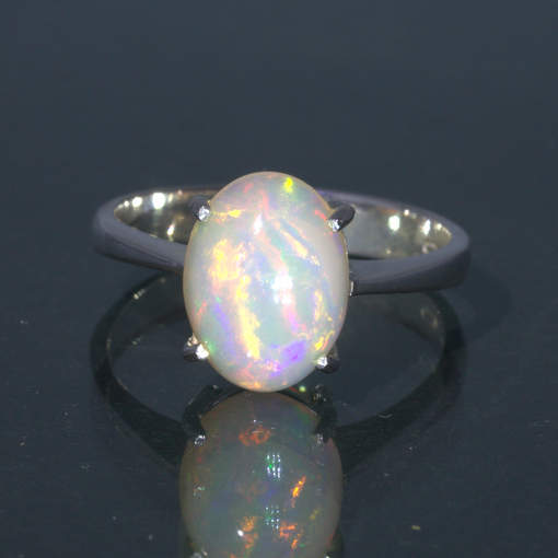 Welo Opal Untreated Stable Ethiopia Gem Handmade Silver Ring size 7.5 Design 121
